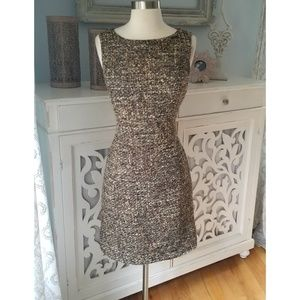 Talbots Greeen and Brown Tweed Dress Size 6